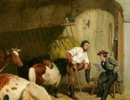 """Podobno tylko krowa nie zmienia zdania. Ciekawe jakie miałaby o naszych komentatorskich perełkach. Na ilustracji obraz Arthura Fitzwilliama Taita """"Ostatnie wieści"""" (1862)."""