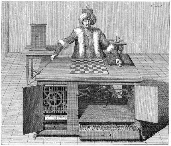 """Tak zwany """"Mechaniczny Turek"""" był jedną z największych osiemnastowiecznych mistyfikacji, której autorem był Wolfgang von Kempelen. Rzekomo była to maszyna mistrzowsko rozgrywająca partię szachów. W rzeczywistości w jej wnętrzu ukryty był szachista sterujący wszystkimi ruchami."""