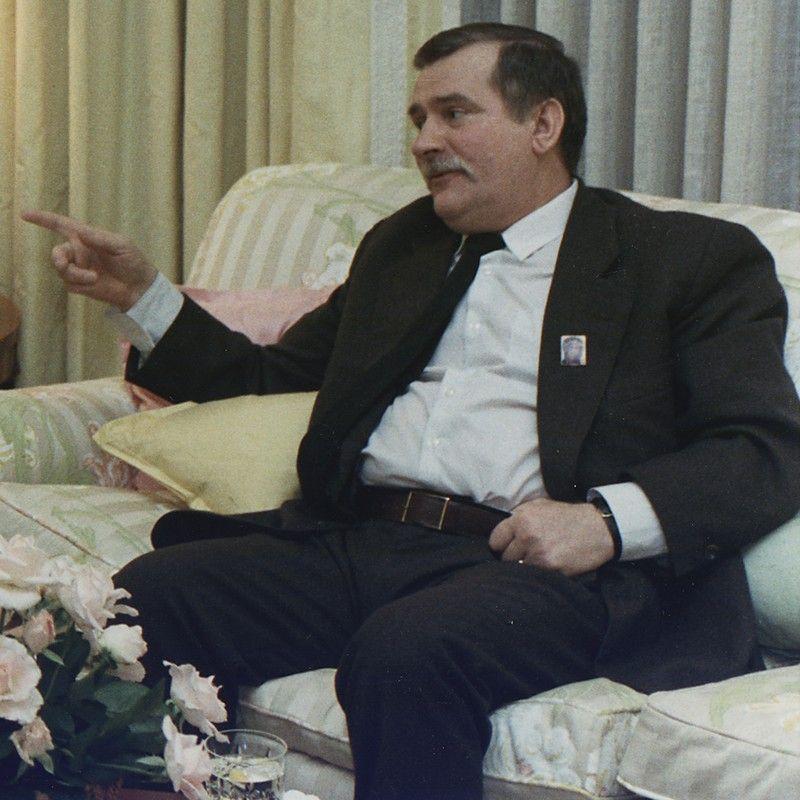 Lech Wałęsa w czasie spotkania z prezydentem USA George'em Bushem seniorem.
