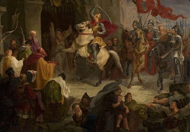 Po zdobyciu w 1018 roku Kijowa Chrobry zgwałcił a na następnie uprowadził Przedsławę, siostrę tamtejszego władcy Jarosława Mądrego. Na ilustracji obraz Wincentego Smokowskiego.
