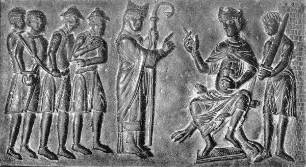 Do zaprzestania handlu chrześcijańskimi niewolnikami wzywał między innymi św. Wojciech. Na ilustracja scena z drzwi katedry gnieźnieńskiej przedstawiająca praskiego biskupa napominającego czeskiego władcę Bolesława II, aby zaprzestał tego procederu.