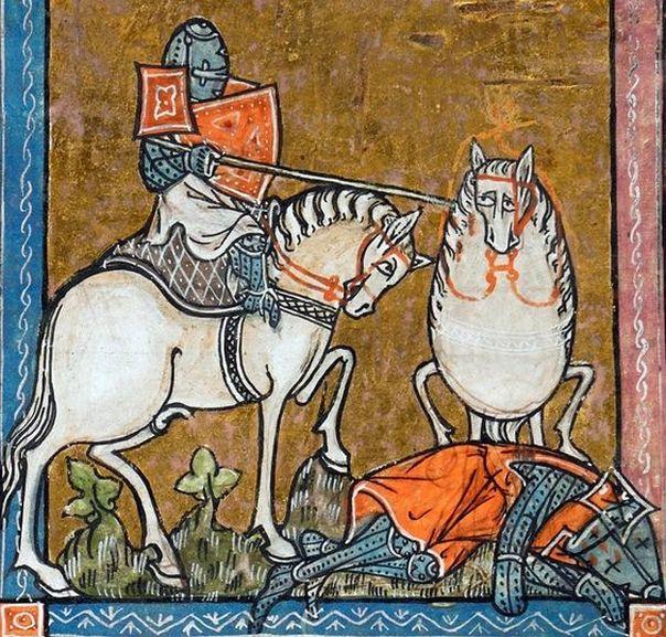 """Ciekawe, jak wygląda siodło. """"L'estoire de Merlin"""", Francja, ok. 1316 r., zbiory British Library."""