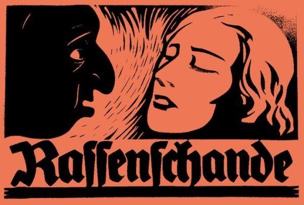 Początkowo zbrodnia zhańbienia rasy dotyczyła tylko związków Niemców z Żydami i Cyganami. Od wybuchu II wojny światowej obejmowała też intymne relacje polsko-niemieckie. Fragment niemieckiego plakatu propagandowego.