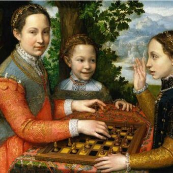 Dziewczynki grające w szachy. Jedną z rozrywek, jakim oddawały się dzieci Bony Sforzy i Zygmunta Starego była właśnie gra królów. Sofonisba Anguissola, włoska malarka renesansowa, uwieczniła na obrazie swoje siostry grające w szachy.