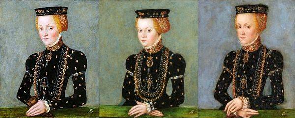 Od lewej Katarzyna, Zofia i Anna - trzy najmłodsze córki Bony. Portrety pędzla Lucasa Cranacha Młodszego.