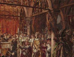 """MP 5060; Matejko, Jan (1838 1893) (malarz); Koronacja pierwszego króla R.P.1001, z cyklu """"Dzieje Cywilizacji w Polsce""""; 1889; olej; deska dêbowa; 79 x 105"""