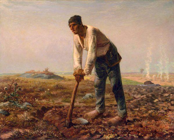 """Co prawda z motyką, a nie z łopatą, ale trzyma i w dodatku idealnie """"ustawił się"""" do obrazu. Jean François Millet z pewnością wiedział, że nie maluje ani historyka, ani prawnika, ale chłopa z krwi i kości."""