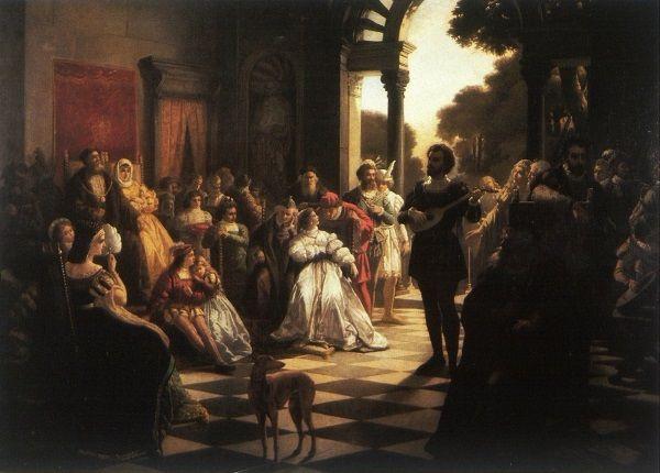 """Dwór Wawelski był najlepszym miejscem do nabywania obycia z kulturą, ale niekoniecznie do życia dla królewskiej córki. Obraz zatytułowany """"Wprowadzenie muzyki włoskiej na dwór Zygmunta I przez Bonę""""."""