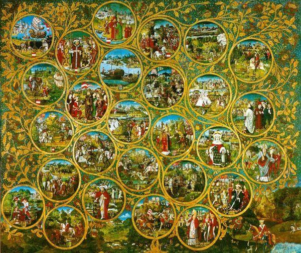 W XIV wieku Habsburgowie byli dynastią na dorobku. Ciągle musieli przypominać, że są legalnymi spadkobiercami Babenbergów. Na ilustracji drzewo genealogiczne Babenbergów.