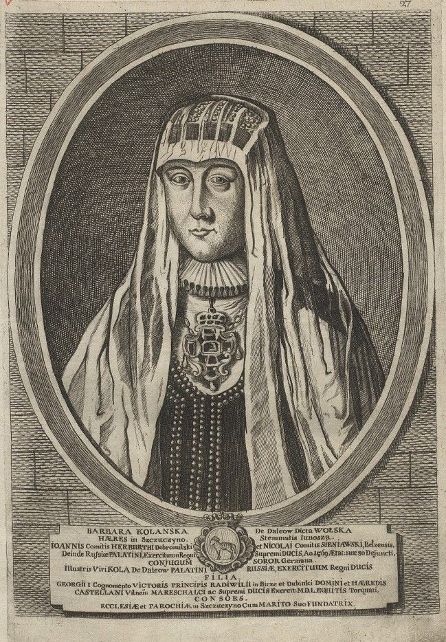 Matka Barbary Radziwiłłówny, Barbara Kolanka, na XVIII-wiecznej rycinie.
