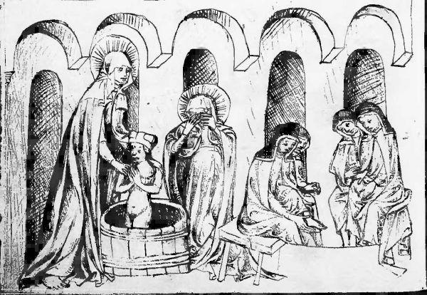 Święta Jadwiga śląska nie tylko sama stosowała przerażające praktyki higieniczne, ale i przeprowadzała je na własnym wnuku Bolesławie, i to na oczach synowej. Na ilustracji XV-wieczna miniatura.