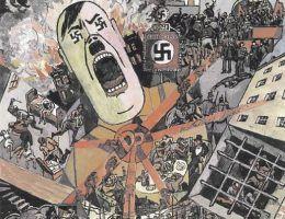 """Fragment antynazistowskiego plakatu """"Trzecia Rzesza"""", przygotowanego w 1934 roku przez Heinricha Vogelera, przebywającego na emigracji Niemca."""