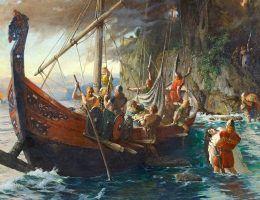 Czy to prawda, że członkowie drużyny Chrobrego brali udział w wikińskiej inwazji na Anglię? Na ilustracji obraz Ferdinanda Leeka.