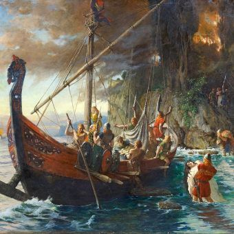 Czy to możliwe, że członkowie drużyny Chrobrego brali udział w wikińskiej inwazji na Anglię? Na ilustracji obraz Ferdinanda Leeka.