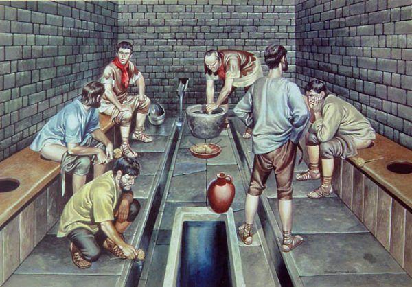 Gromadna defekacja. Dokładnie tak, jak to lubili Rzymianie. Ciekawe czy wiedzieli, że następnie wycieranie się do czysta nie ma podobno najmniejszego sensu?