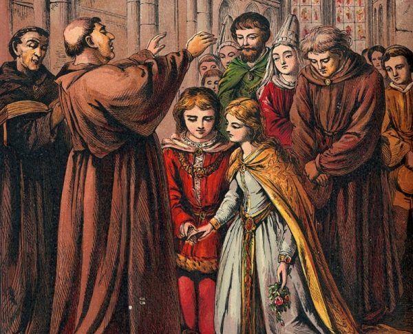 """Pełnoprawne śluby zawierały już dwunastoletnie dziewczynki, w świetle prawa traktowane jak dorosłe kobiety. W przypadku chłopców poprzeczka była zawieszona tylko nieznacznie wyżej. Ilustracja i podpis z książki """"Damy polskiego imperium""""."""