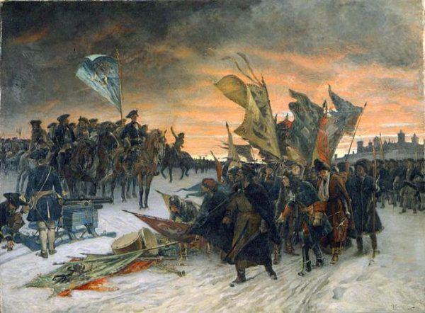 Bitwa pod Narwą na obrazie Gustafa Cederströma.
