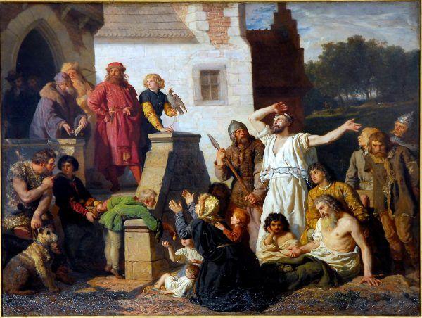 """Kazimierz Wielki na obrazie Wojciecha Gersona z 1874 roku """"Przyjęcie Żydów""""."""