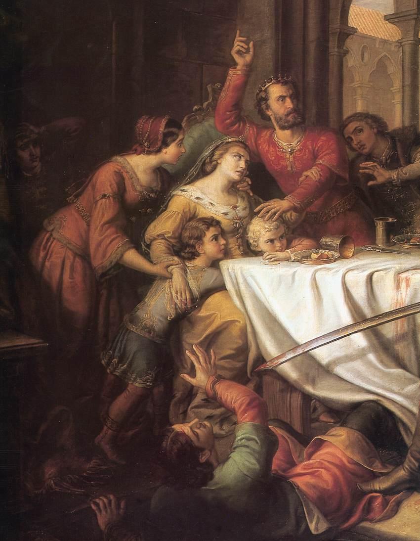"""Fragment obrazu """"Gniew Felicjana Zacha"""" pędzla Somy Orlai-Petricha. Druga połowa XIX wieku. Widoczna Elżbieta i jej przerażeni synowie."""