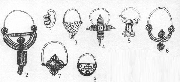 """Wybrane wzory biżuterii wczesnośredniowiecznej. Przerysy z pracy H. Kóčka-Krenz, """"Biżuteria średniowieczna na ziemiach polskich jako wyznacznik chronologiczny"""", 1997."""