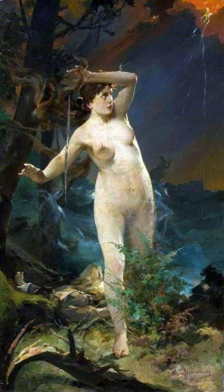 Litewska bogini miłości Milda w wyobrażeniu Kazimierza Alchimowicza (1910).