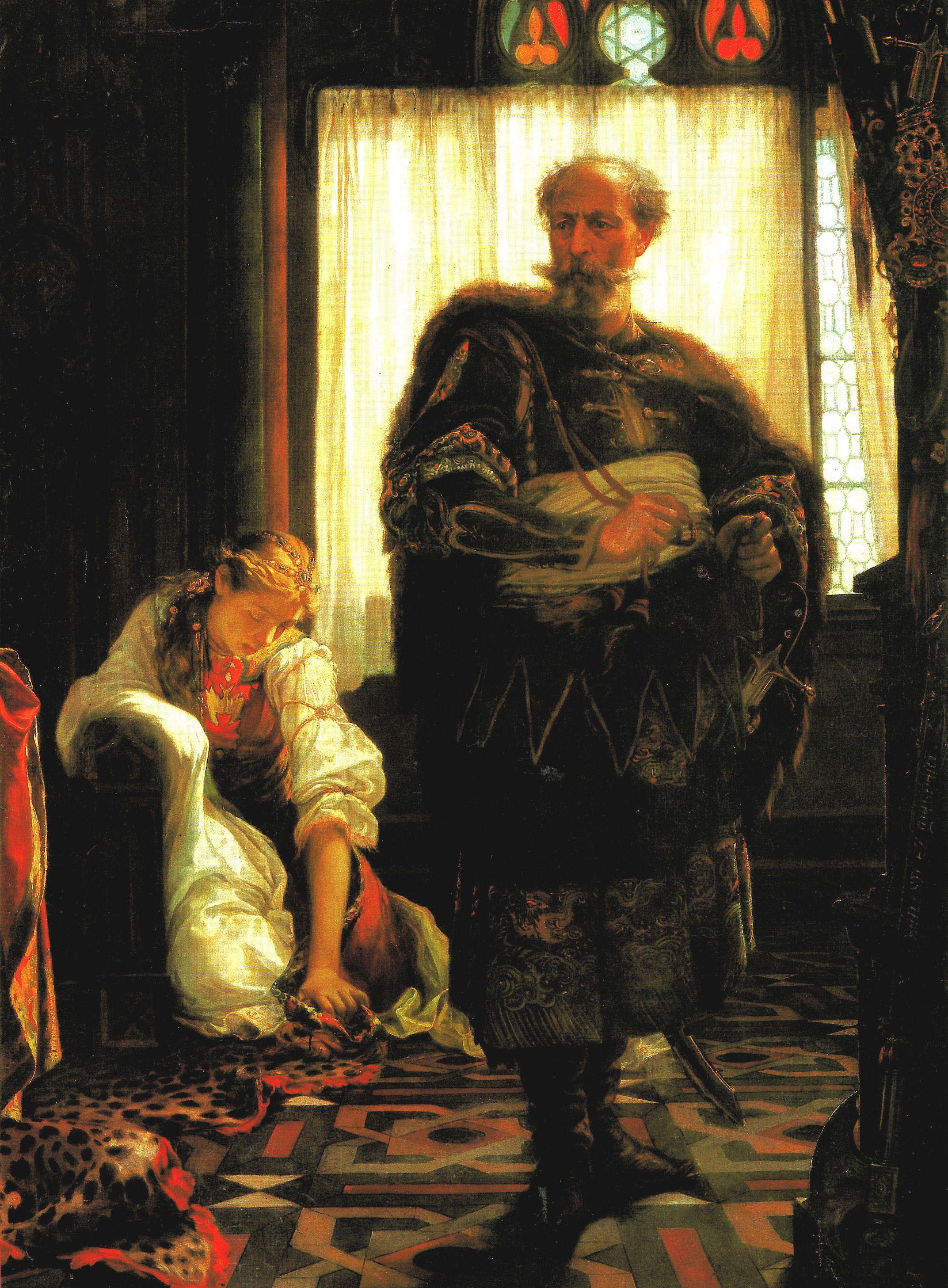 Klara w cieniu ojca. Obraz Viktora Madarásza, połowa XIX wieku.