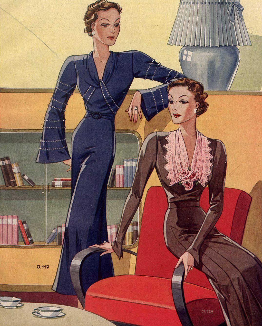 """Spotkanie proszone wymagało odpowiedniej oprawy. Fragment okładki pisma """"Przegląd mody"""" z 1937 roku."""