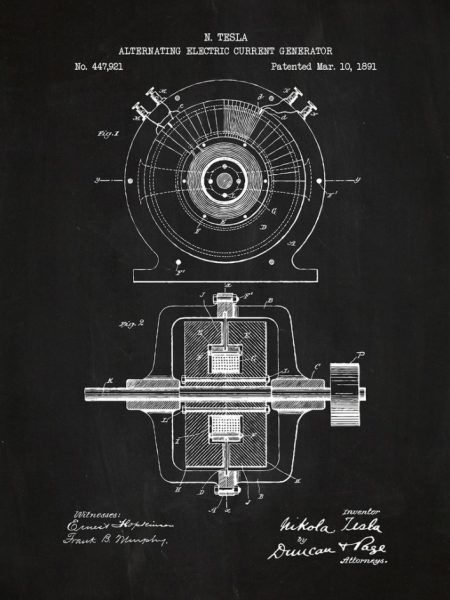 Generator prądu przemiennego, 1891. Najbardziej znany patent Nikoli Tesli.