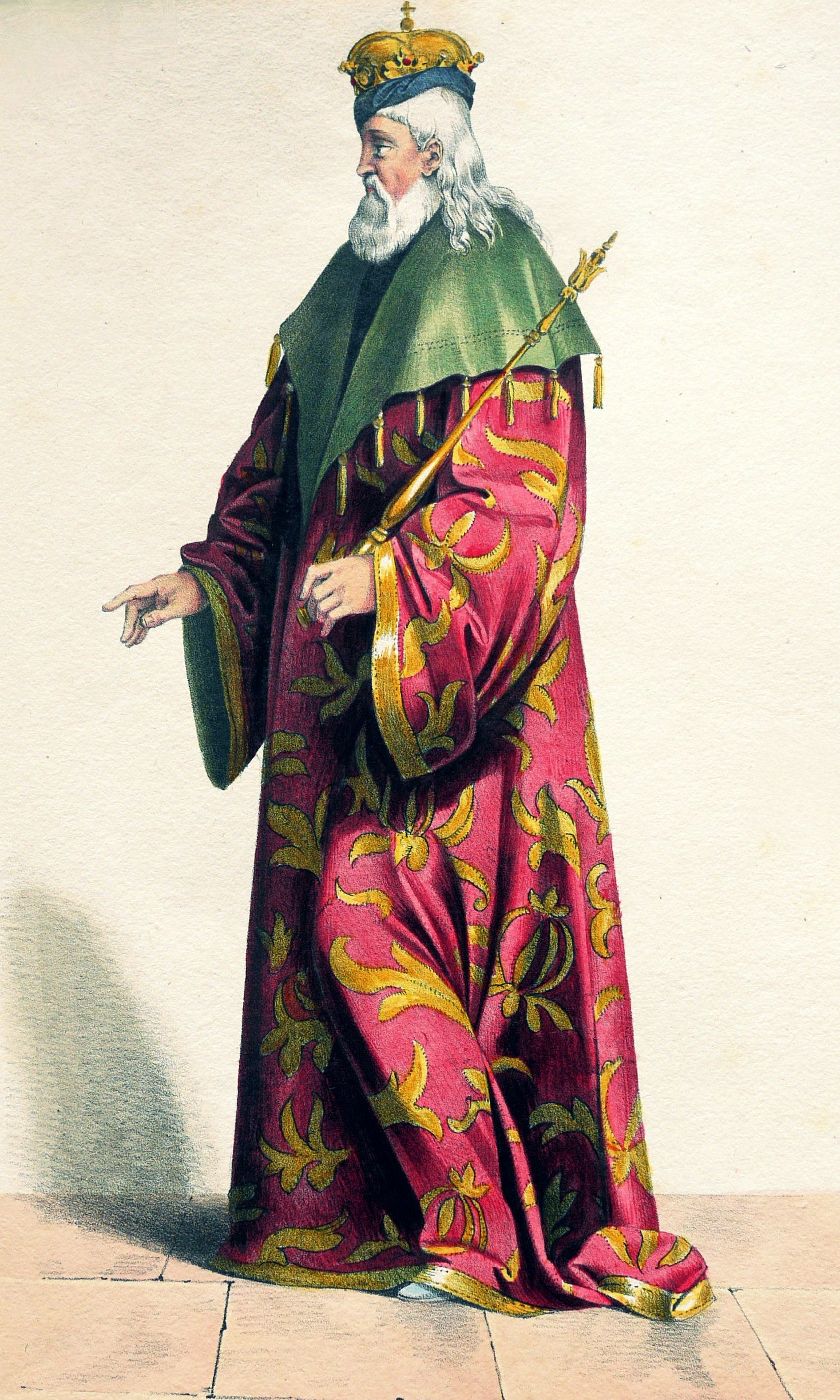 Karol Robert u schyłku swego życia. Litografia z początku XIX wieku.