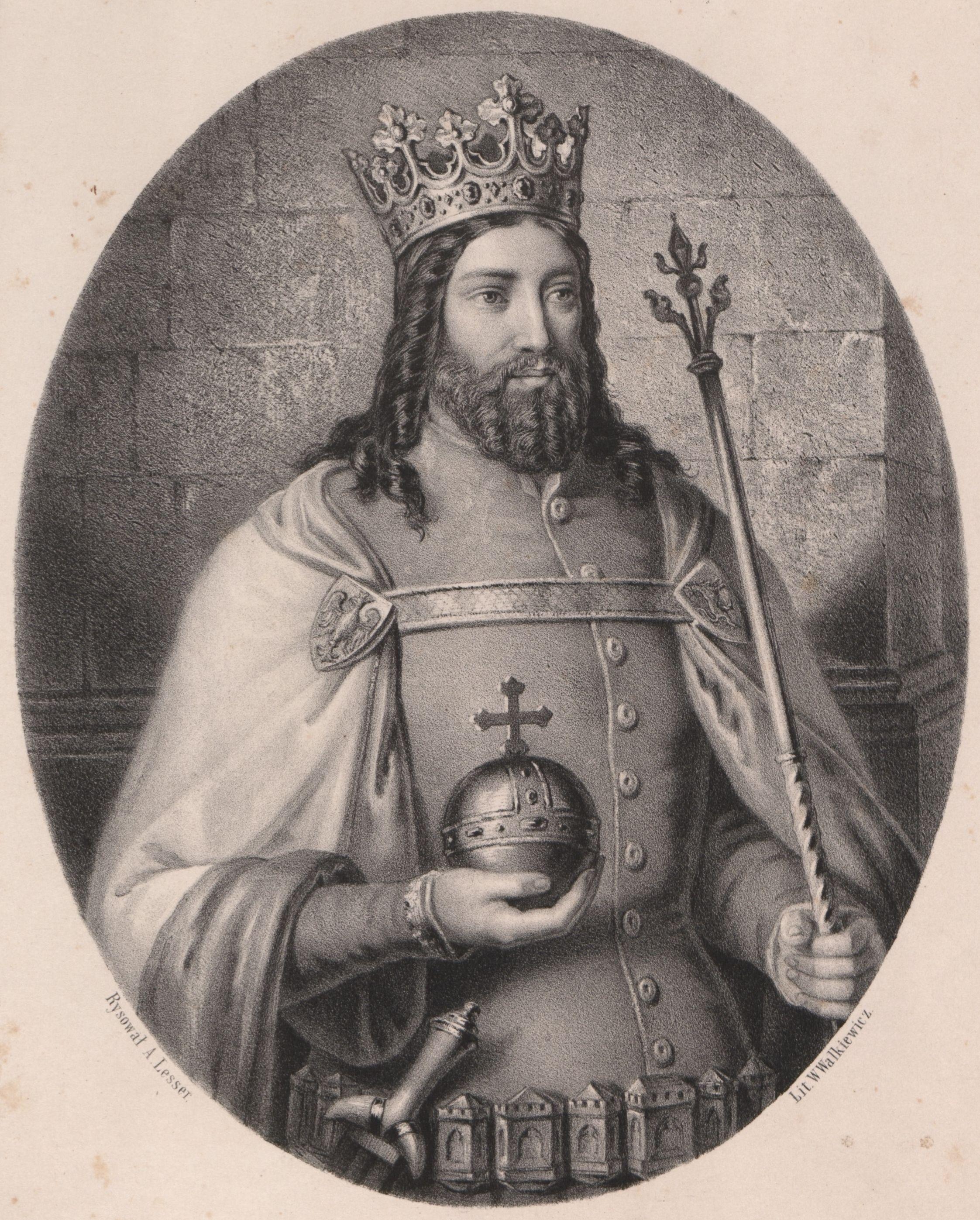 Odstręczający epizod z młodości nie przeszkodził Kazimierzowi w zdobyciu sławy największego polskiego króla. Rysunek A. Lessera.