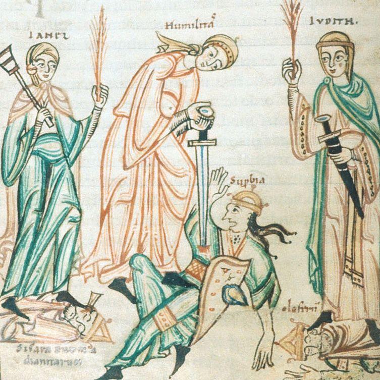 Kobiece ubiory z XI stulecia na niemieckim manuskrypcie ze zbiorów British Library.