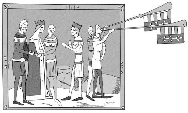 """Koronacja Elżbiety Łokietkówny. Miniatura z tak zwanej """"Kroniki Ilustrowanej"""", przerysowana przez Annę Pietrzyk."""