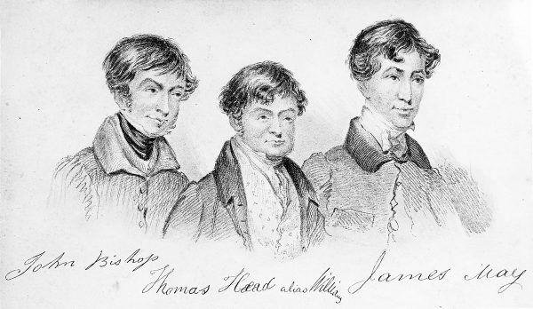 Londyńscy burkerzy. Trzej członowie gangu na XIX-wiecznej litografii.