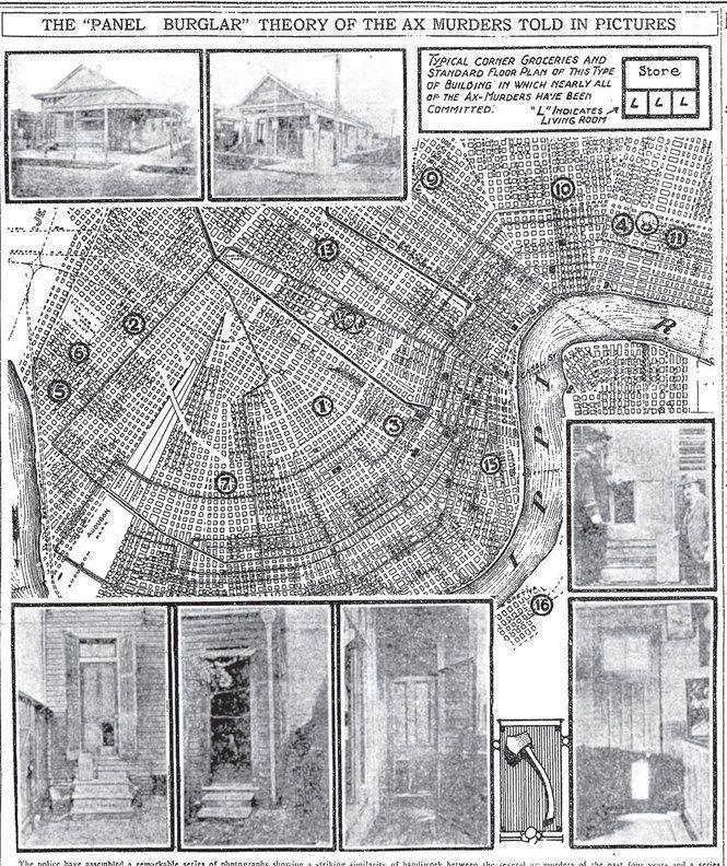 """Miejsca ataków przypisywanych """"katowi z Nowego Orleanu"""" naniesione na mapę miasta. Materiał prasowy z 1919 roku."""