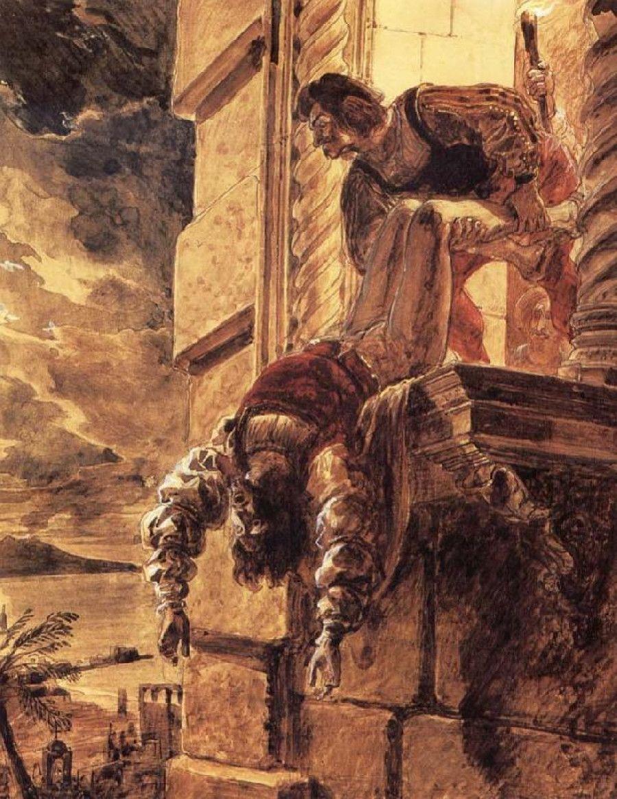 Tragiczny koniec niedoszłego króla, Andrzeja Andegaweńskiego. Obraz Karła Briułłowa.
