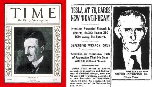 """Nikola Tesla na okładce magazynu """"Time"""" oraz poświęcony mu artykuł na pierwszej stronie """"New York Timesa""""."""