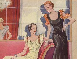 """Jak zorganizować świetne przyjęcie? Przedwojenne damy miałyby dla nas wiele dobrych rad. Fragment okładki """"Przeglądu Mody"""" z 1933 roku."""