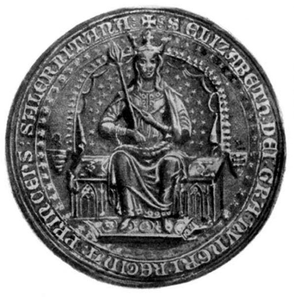 """Elżbieta tronująca. Pieczęć królowej wykonana zaraz po jej koronacji. Ilustracja z książki """"Damy polskiego imperium"""" Kamil Janickiego."""