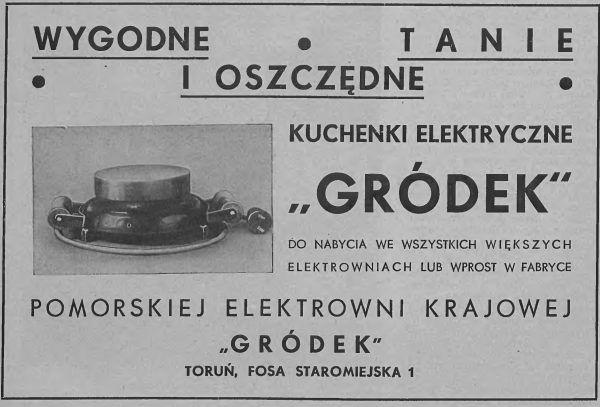 Reklama kuchenek elektrycznych z przedwojennej prasy.