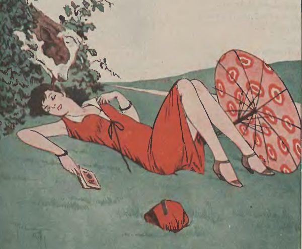 """""""Romantycznie"""". Ilustracja z pisma """"Wolna myśl - wolne żarty"""", 1933 rok."""