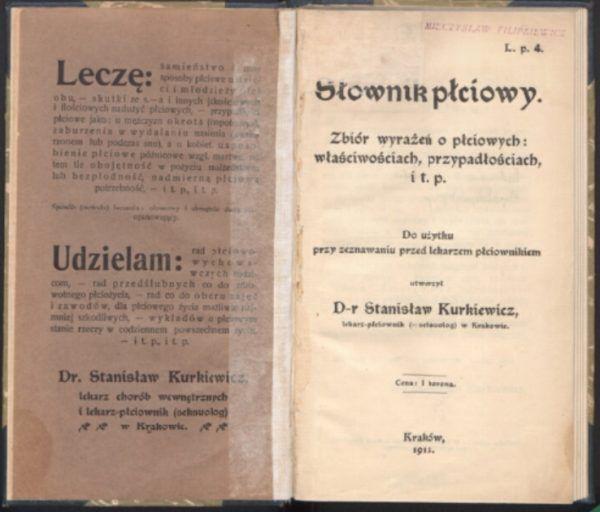 """""""Słownik płciowy"""" doktora Kurkiewicza. Strona tytułowa."""