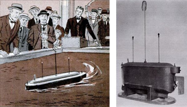 Zdalnie sterowana łódź Nikoli Tesli i jej prezentacja w Nowym Jorku.