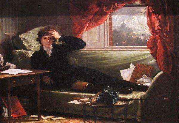 Czyżby Kościuszko właśnie w twórczym natchnieniu komponował polonezy? Obraz Benjamina Westa z 1797 roku.