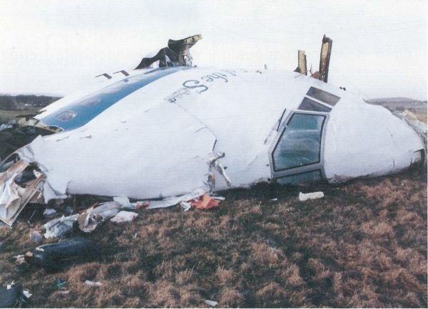 Wrak samolotu Lockerbie tuż po rozbiciu nad Szkocją.