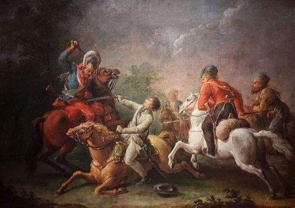 Pod Maciejowicami Kościuszko był bliski śmierci nie tylko z własnej ręki, co odmalował wkrótce po bitwie Jan Bogumił Plersz.
