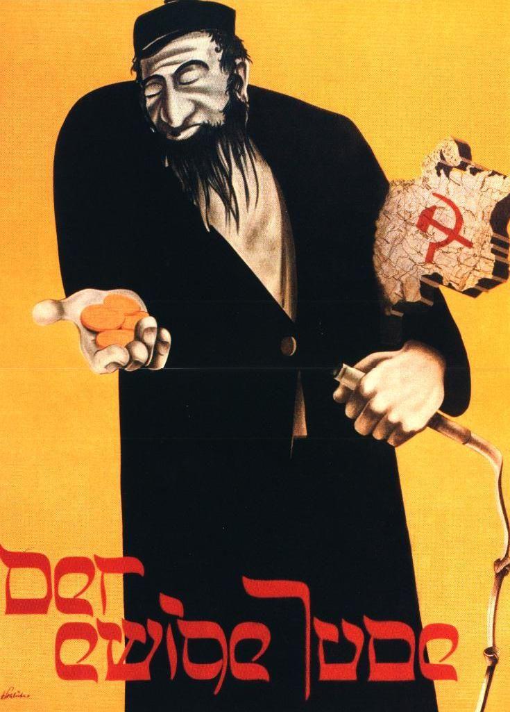 Antysemityzm był integralna częścią nazistowskiego programu nauczana. Na ilustracji antysemicki plakat propagandowy.