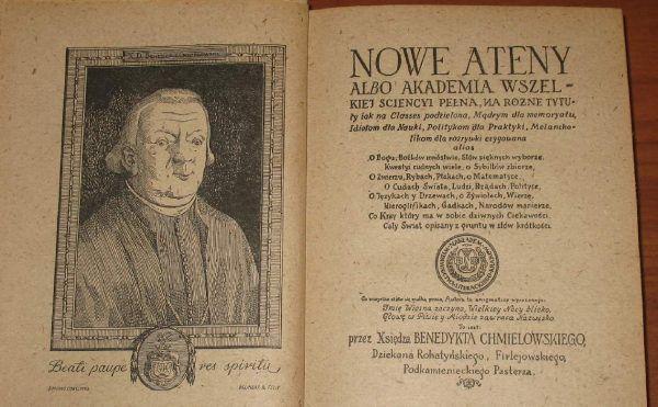 """""""Nowe Ateny"""", pierwsza polska encyklopedia, i jej twórca Benedykt Joachim Chmielowski."""