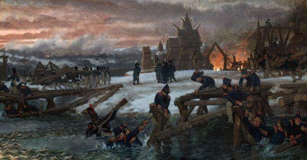 Dla Francuzów przeprawa przez Berezynę jest synonimem katastrofalnej sytuacji. Na ilustracji przeprawa przez Berezynę pędzla Lawrence'a Alma-Tadema