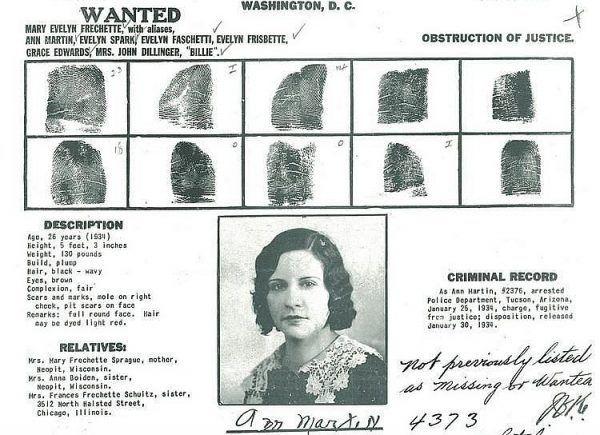 Fragment listu gończego za Evelyn Frechette, jedną z kobiet gangsterów.