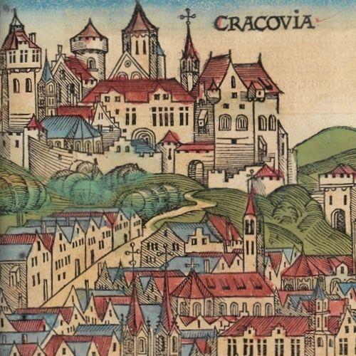 Gotycki Wawel na najstarszej zachowanej panoramie Krakowa, z 1493 roku.